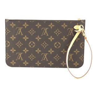 Neverfull Pochette XL Brown Monogram Canvas Clutch